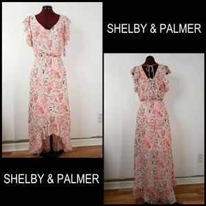 Shelby And Palmer Woman Floral High & Low Dress 8